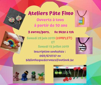 Affiche atelier Fimo 2019